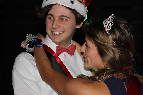 The Royal Couple. Seniors Carter Bryant and Paige Becker enjoy the traditional first dance at the Hogwarts themed Sweetheart Dance on Jan. 30.