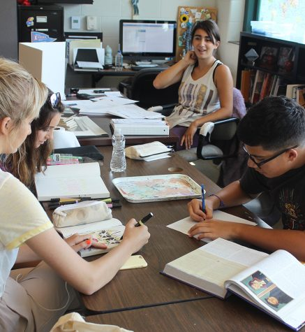 Seniors work on various class assignments together during JAG.