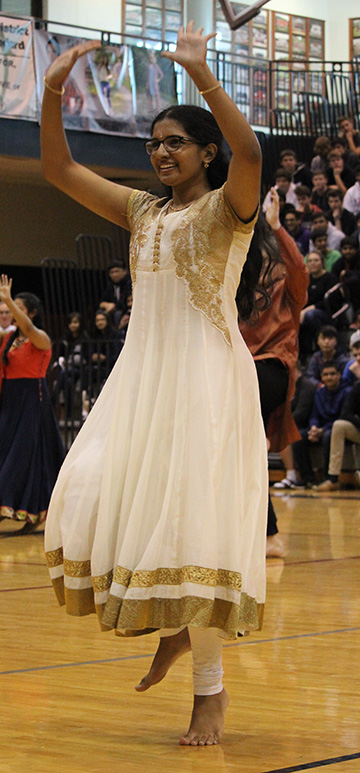 Senior Neeharika Kothapalli shows her dancing skills at the Diversity Assembly on Jan. 29.