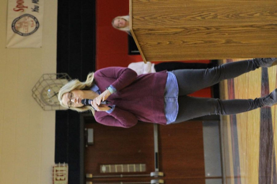 Lakewood Middle School teacher, Mrs. Smith talks to Blue Valley West students on January 26 at the Blue Valley West Diversity assembly about cultures and the importance of being your true self.
