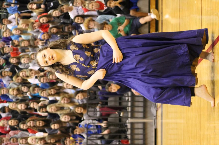 Junior, Catherine Bird grooving and moving during the BVW Diversity Assembly January 26.