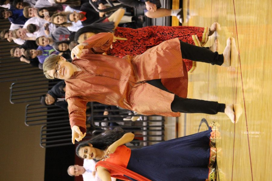 Junior, Jack Mahony showing his moves off to the Blue Valley West student body at the January 26 Diversity Assembly.