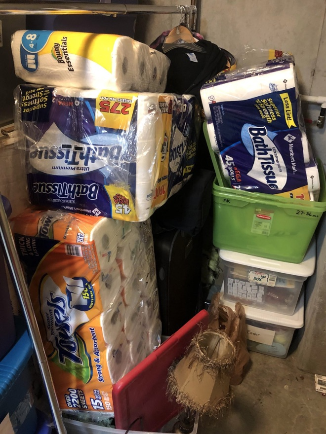 The Coveted! It isn't everyday you see a tower of toilet paper in the storage room of a house, but this what the world is like in March 2020. As more people are self quarantining, more people are rushing to stores to stash up on necessities, especially toilet paper.  Despite a shortage on toilet paper, there are no shortage of toilet paper memes!
