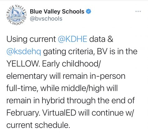 BVSD tweet regarding Feb. 2021 learning modes
