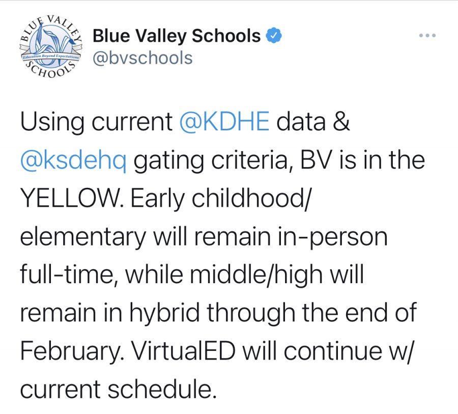 BVSD tweet regarding Feb. 2021 learning modes