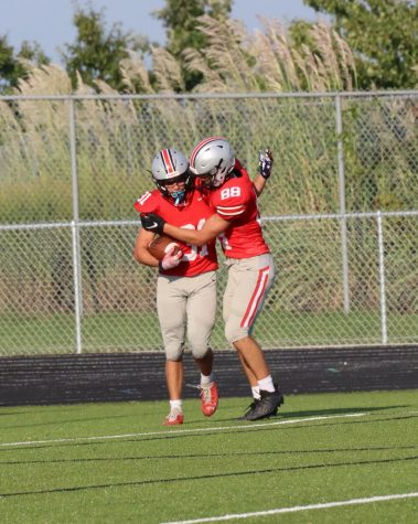 Sophomores Tyler Bono and Anthony Tamasi celebrating a touchdown at the JV football game on Sep.6.