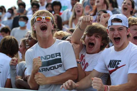 Sophomores bring the spirit during the chant competition at the end of the Homecoming Assembly on Sept. 17.