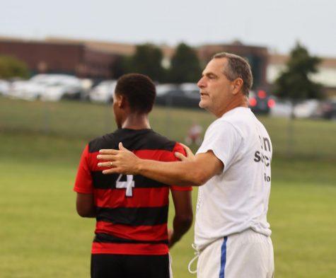 Coach Aiman cheering on his boys varsity soccer soccer team on September 2nd.