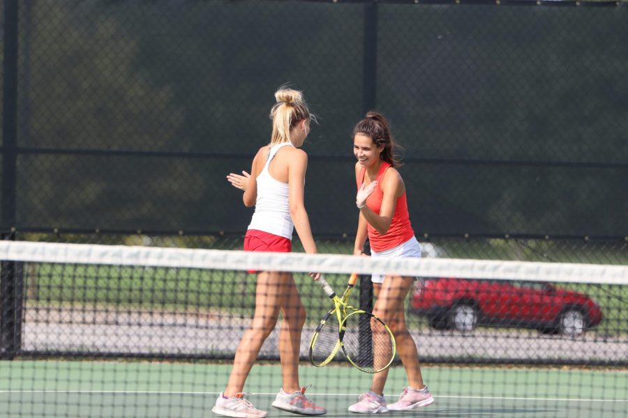 BVW+Varsity+Tennis+match+on+September+7+at+Leawood+City+Park